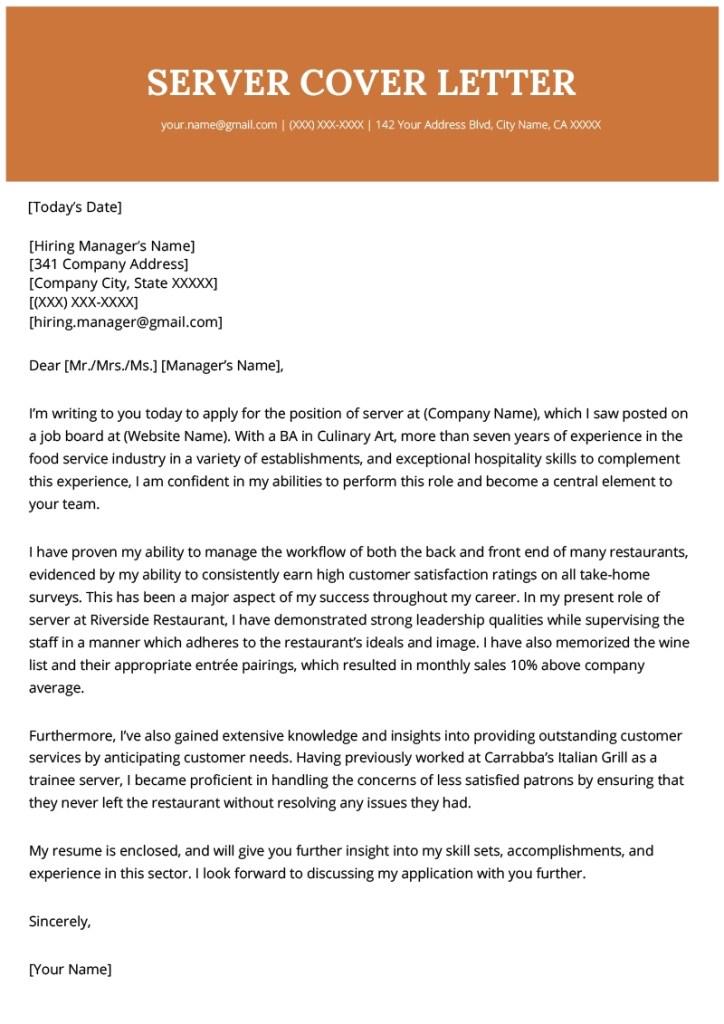 server cover letter example resume genius