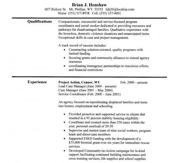 social work resume objective statement