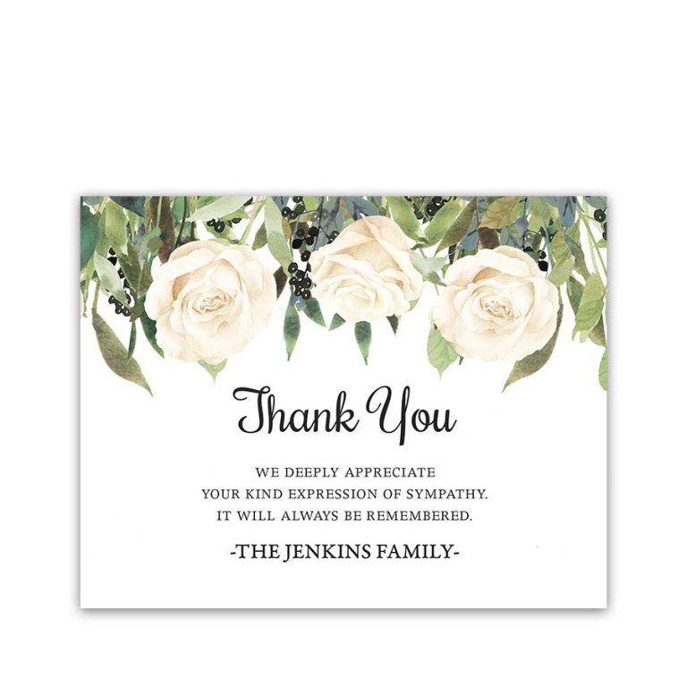 white roses funeral thank you card for guests custom