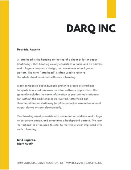 yellow simple company letterhead templates canva