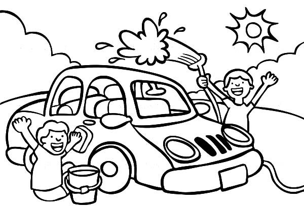 Car wash Coloring page