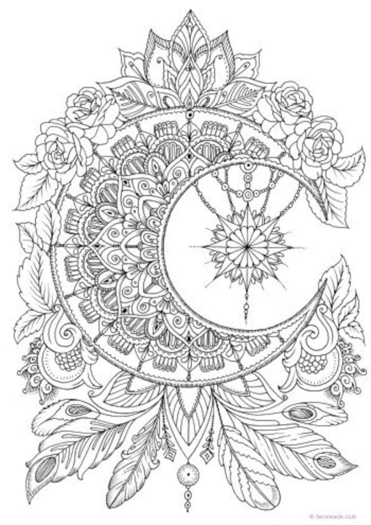 Moon Mandala Coloring