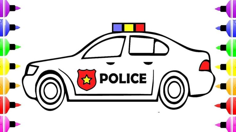 Police Car Cartoon Coloring Pages