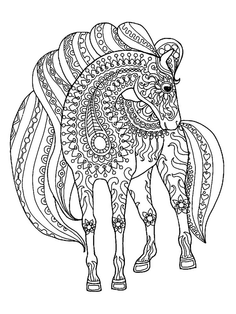 free horse coloring pages for adults printable mandalas