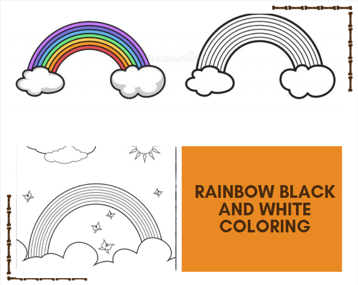 Rainbow Black and White Coloring