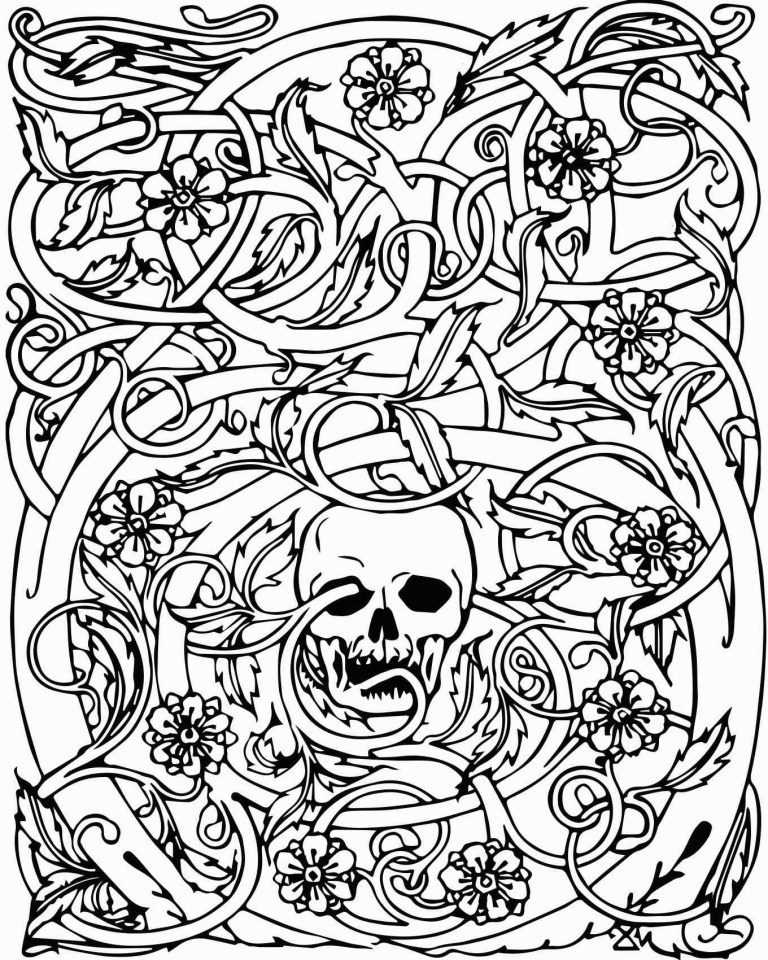 Abstract Skull Coloring Pages For Adults