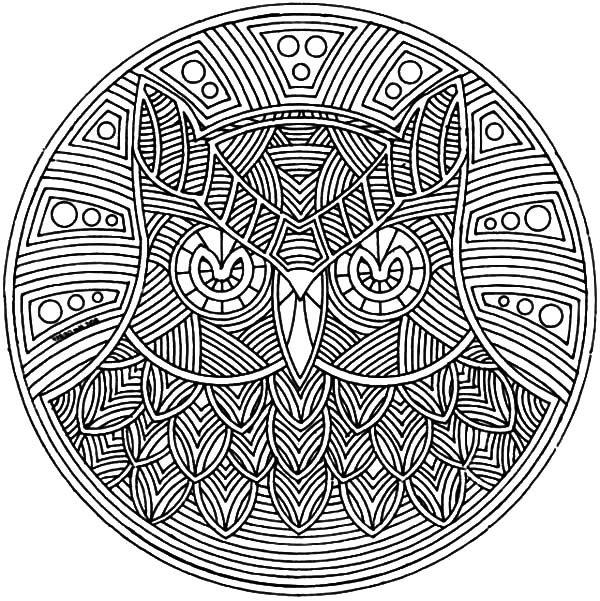 animal owl abstract coloring pages free downloads