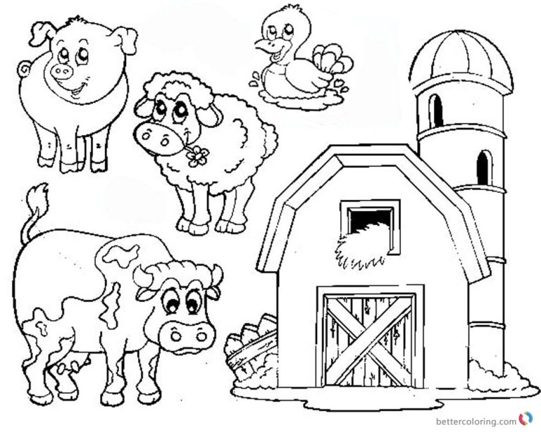 barn coloring pages farm animals for images background