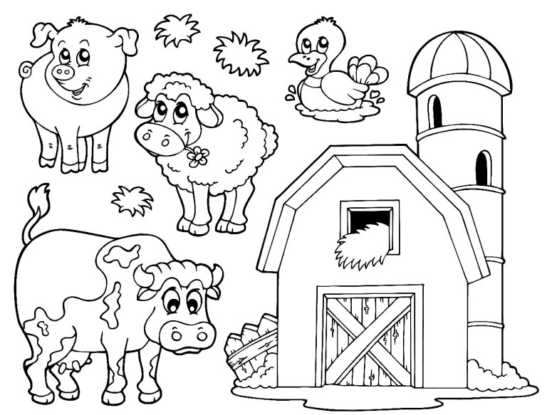 Barns Coloring Pages