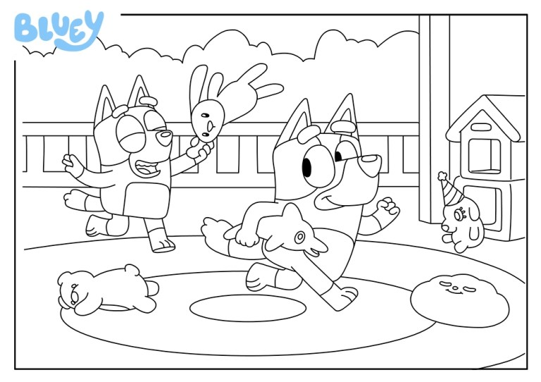 bluey coloring page printable online