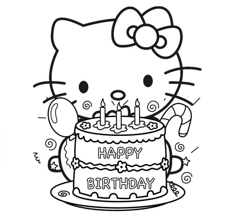 cake birthday Hello Kitty coloring