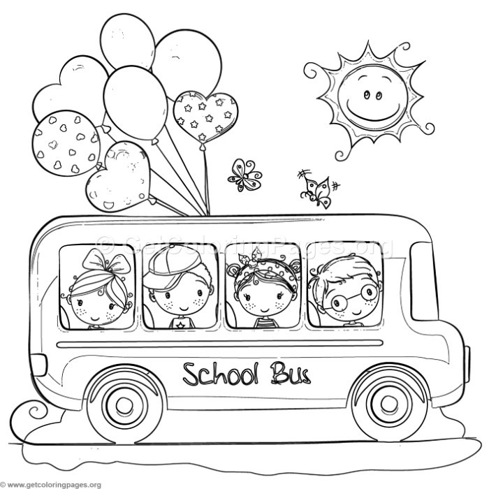 children school bus coloring pages to color