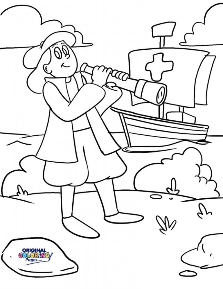 columbus day coloring page pictures