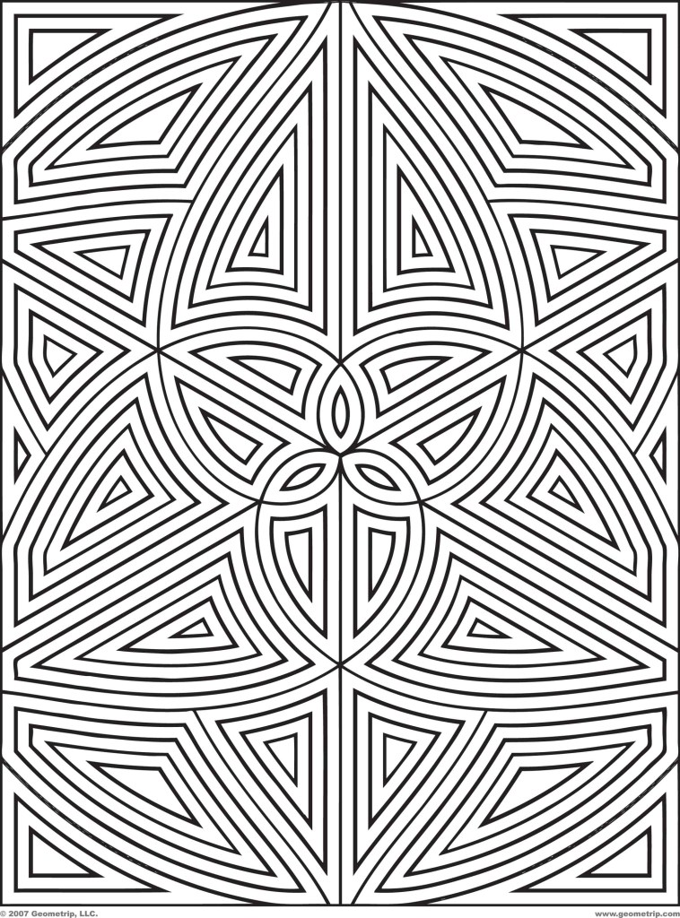 complex geometric coloring pages hard design