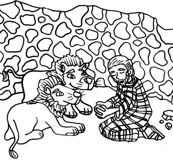 Daniel And The Lions Coloring Page