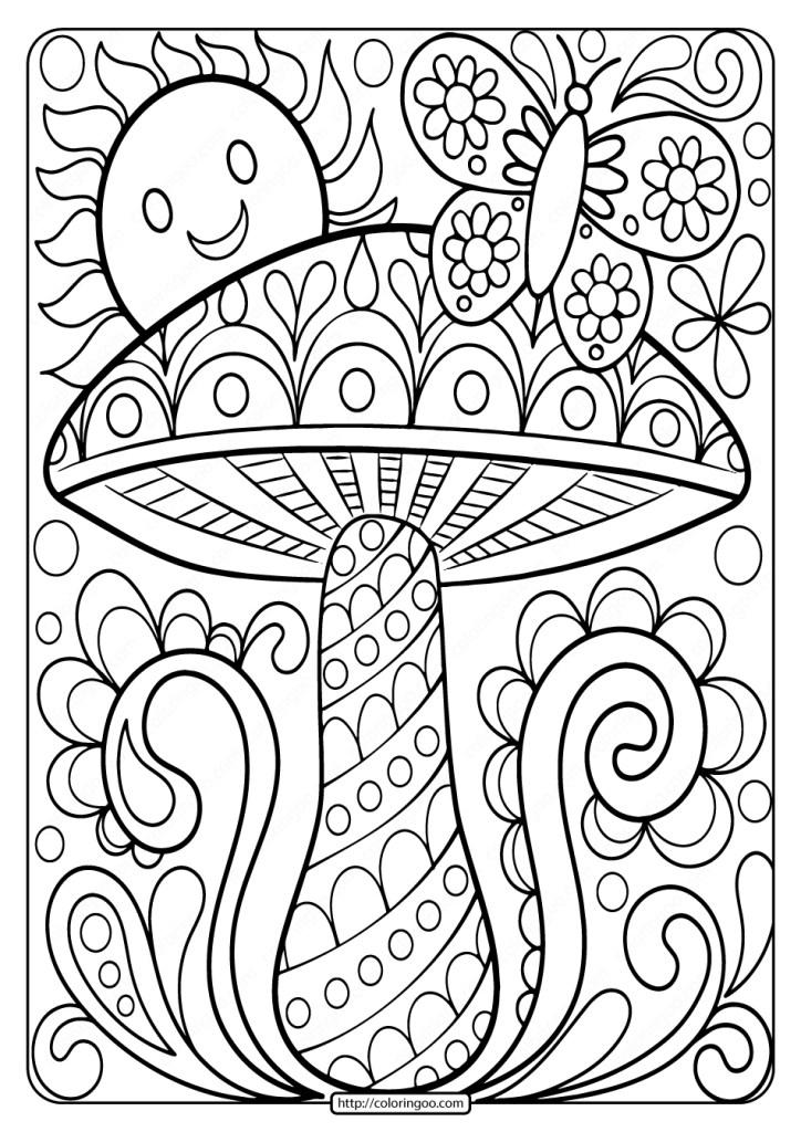 easy free printable mushroom adult coloring page