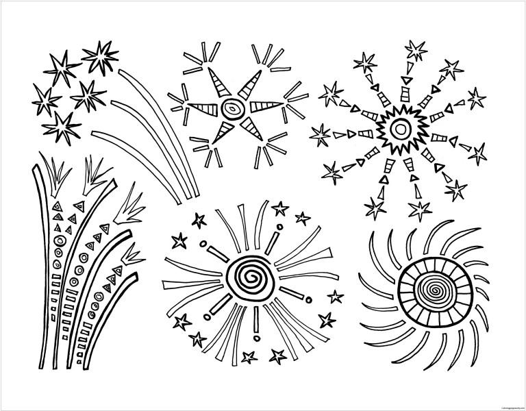 Fireworks Coloring Sheet