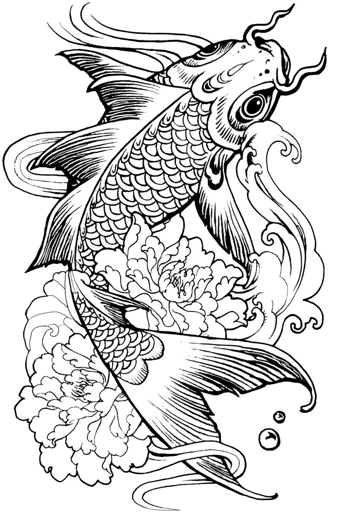 fish carp animals coloring page mandalas