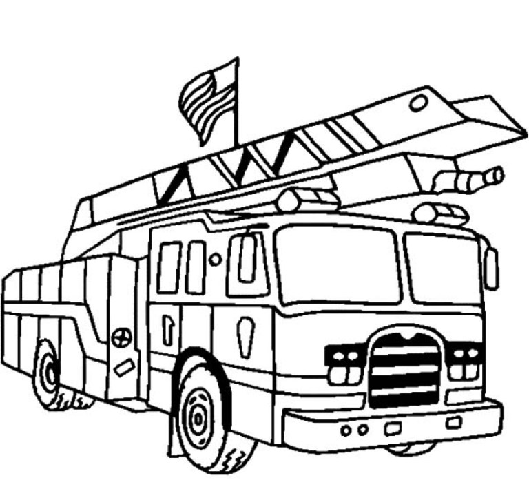 free kids printable fire truck coloring page online