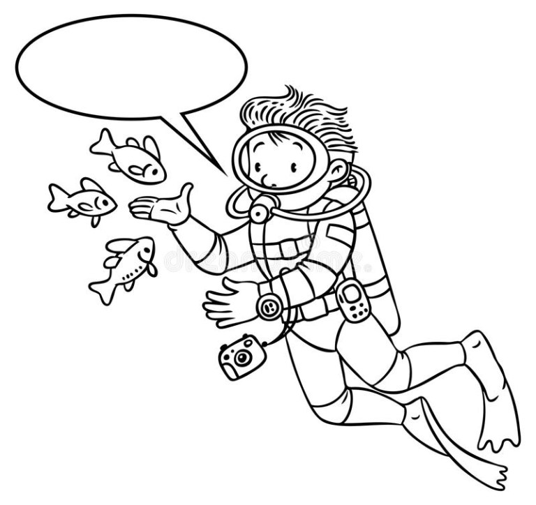 funny Scuba Diving or diver coloring books