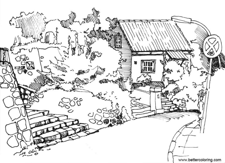 garden coloring pages sketch free printable online