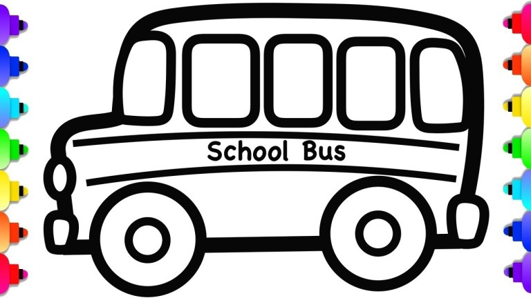 glitter school bus drawing and coloring school bus to print