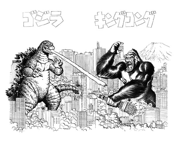 godzilla versus king kong coloring pages for kids