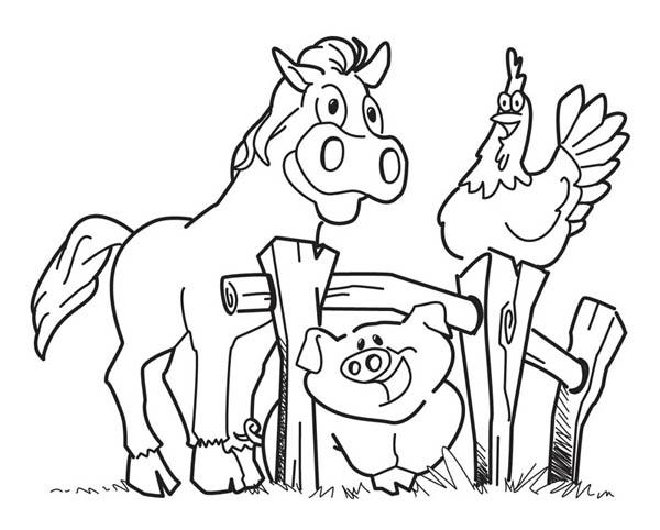 happy animal farm coloring page outdoor