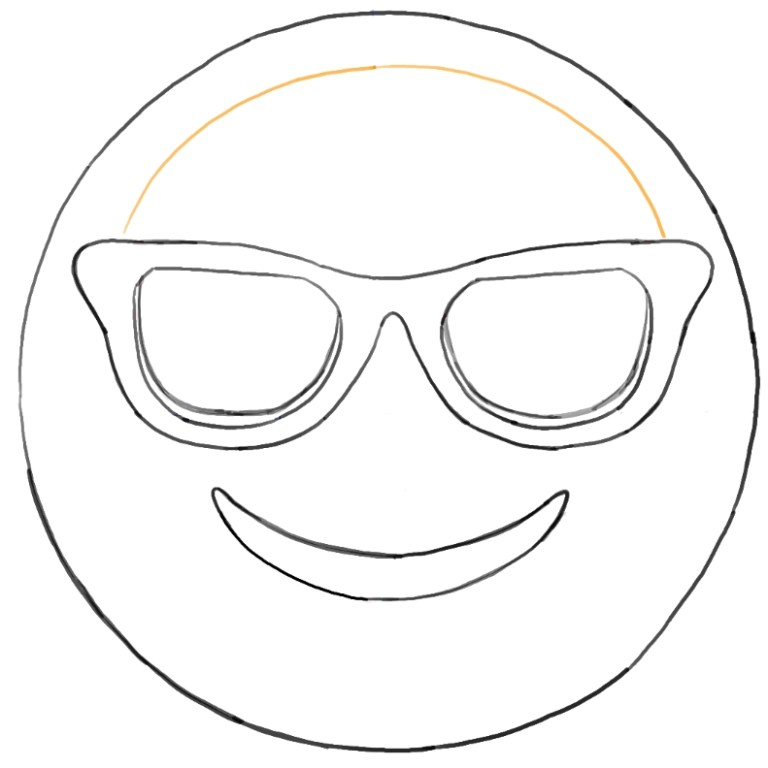 how to draw sunglasses emoji face for kids