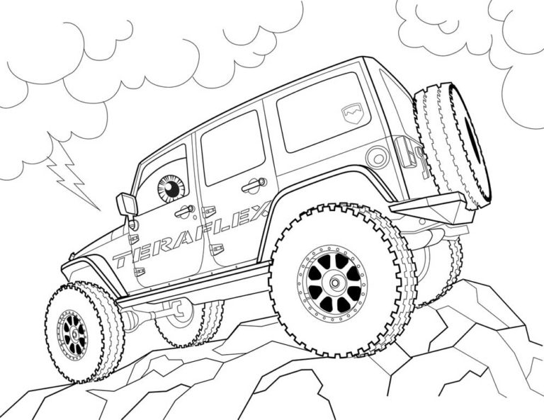 Jeep Truck Coloring Page to print
