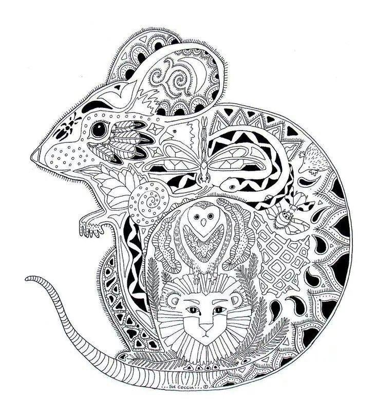 mouse animals coloring mandalas