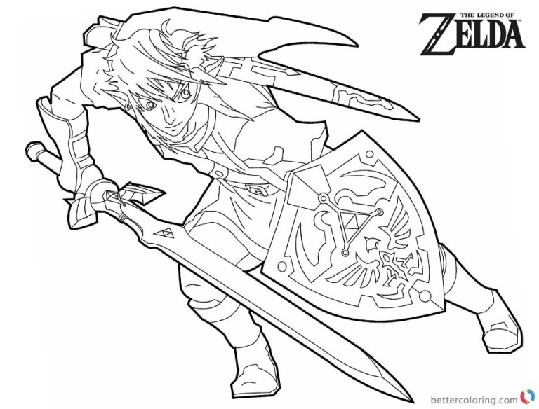 poster legend of zelda coloring pages black and white free