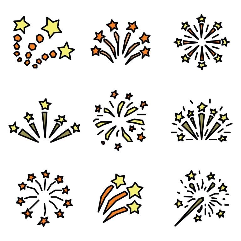 set of outlined fireworks 2022