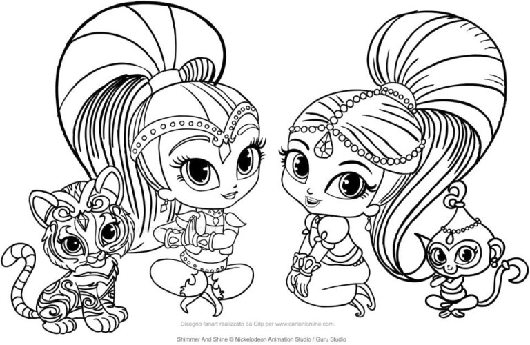 Shimmer And Shine And Leah Coloring Pages