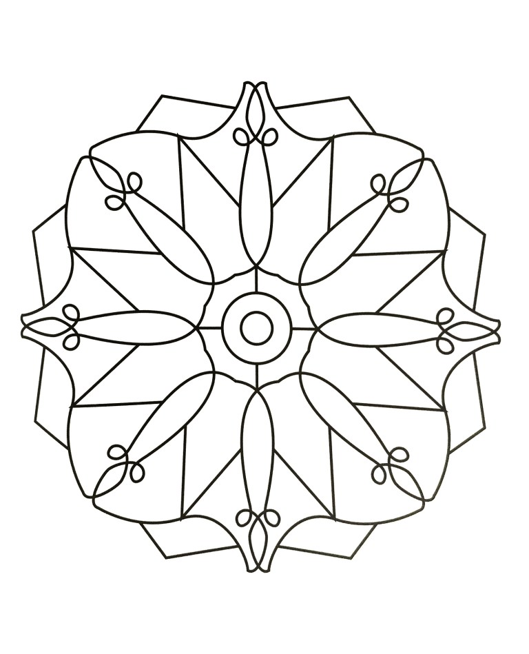 simple mandala coloring pages for kids to downloads