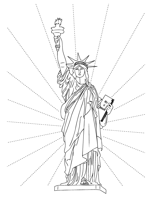statue of liberty black and white coloring page