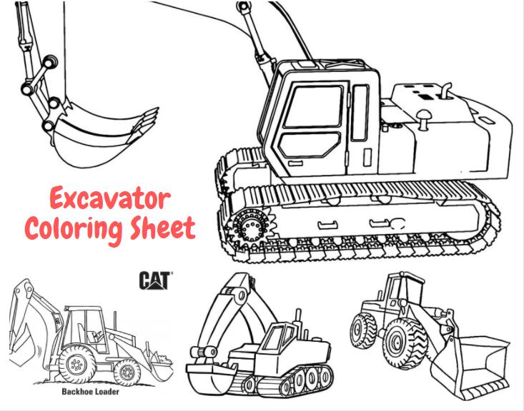Excavator Coloring Sheet