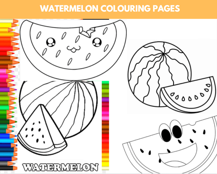 Watermelon Colouring Page