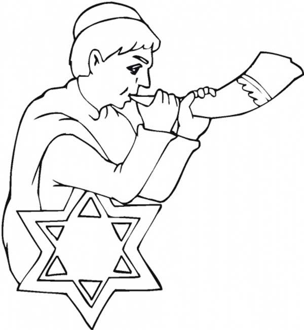 a little kid blow shofar in rosh hashanah Online