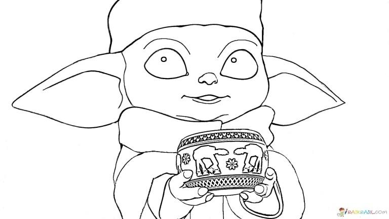 Baby Yoda Coloring Page Cute