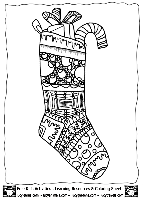 Christmas Stockings Colouring Pages
