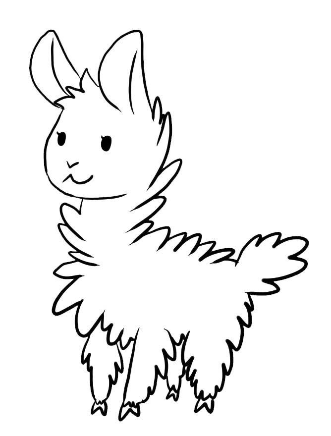 Cute Llama Coloring Page