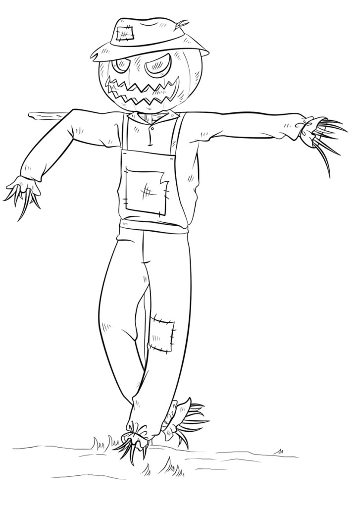 Cute Scarecrow Coloring Page