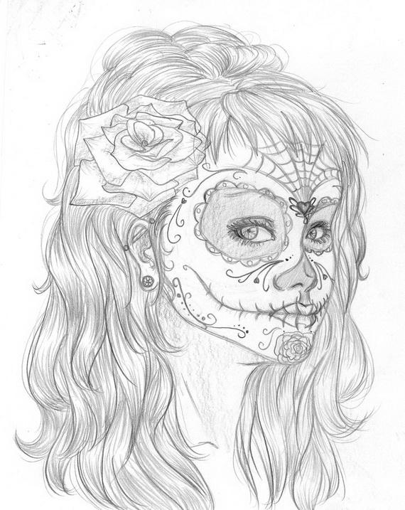 Dia De Los Muertos Mask Coloring Pages
