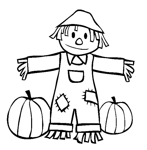 Fall Scarecrow Coloring Pages