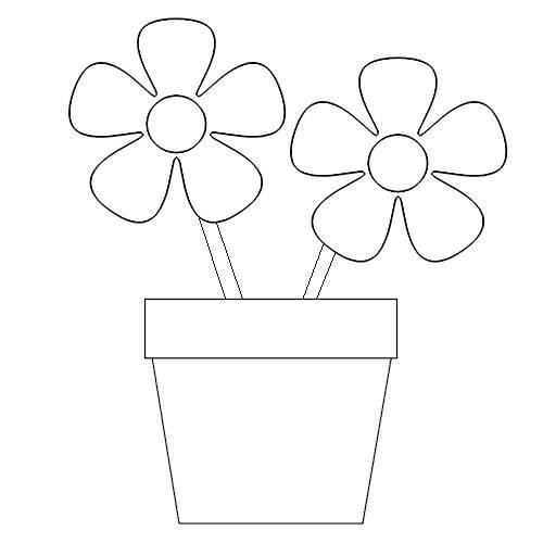 Flower Pot Coloring Sheet