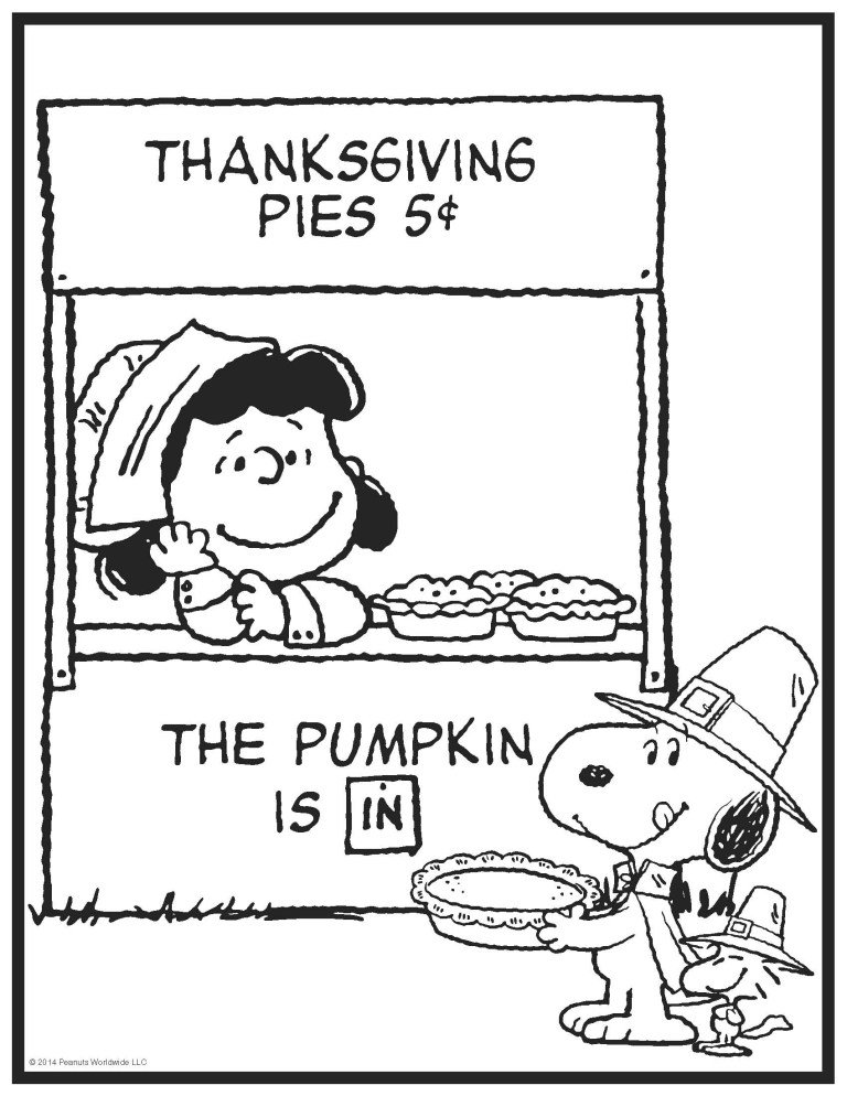 Free Charlie Brown Thanksgiving Coloring Pages