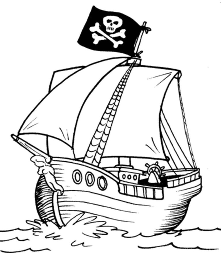 Free Pirate Ship Coloring Page