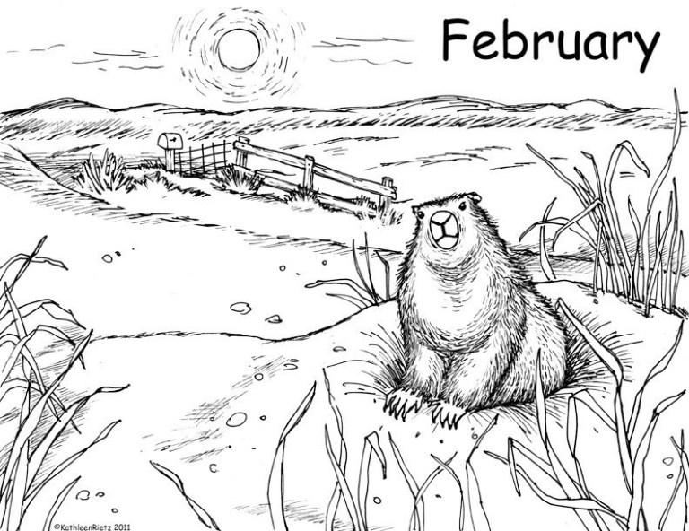 Groundhog Day Coloring Sheet