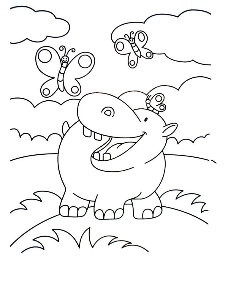 Hippo Coloring Sheet
